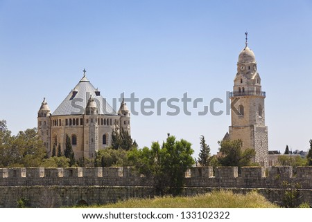 The Monastery of the Dormition of the mother of God. Jerusalem - stock photo