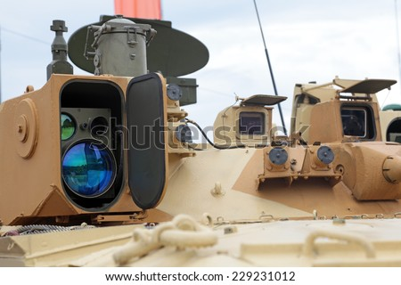 The monitoring devices and guidance modern armored vehicles - stock photo