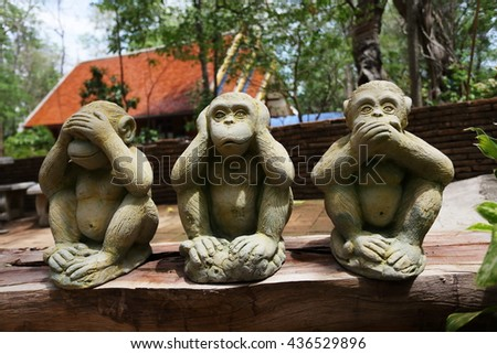the monkey cement are molded using hand action close ears,eyes and mouth  - stock photo