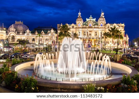 The Monte Carlo Casino, gambling and entertainment complex in Monte Carlo, Monaco, Cote de Azul, Europe. It includes a casino, Grand Theatre de Monte Carlo, and office of Les Ballets de Monte Carlo. - stock photo
