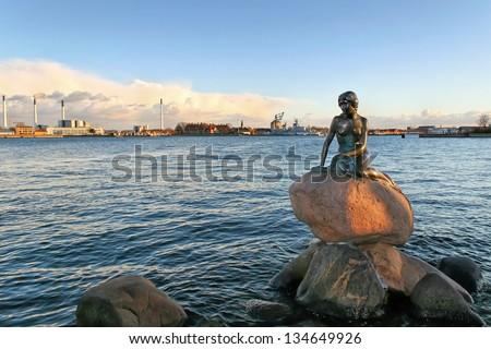The monument of the Little Mermaid in Copenhagen, Denmark, Europe - stock photo