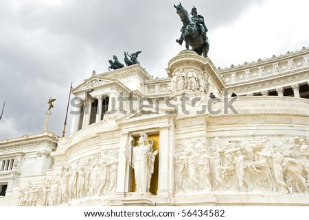 The Monument of Victor Emmanuel II,  June 2010 in Rome, Italy - stock photo