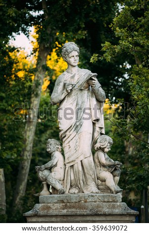 The monument symbolizing science in city Aix-en-Provence, France. - stock photo
