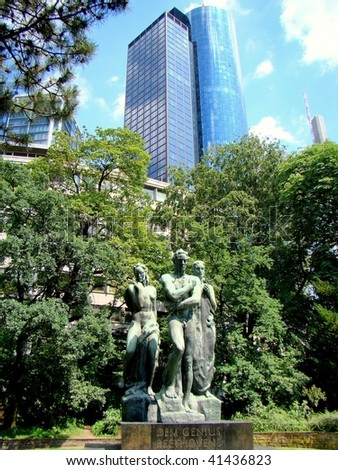 The monument to Ludwig van Beethoven with the Maintower on the background, Frankfurt am Main, Germany - stock photo