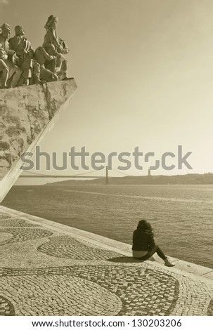 The Monument to the Discoveries in Lisbon (Padrao dos Descobrimentos), Portugal (stylized retro) - stock photo