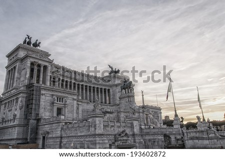 The Monument to Vittorio Emanuele II situated in the Italian capital of Rome. - stock photo
