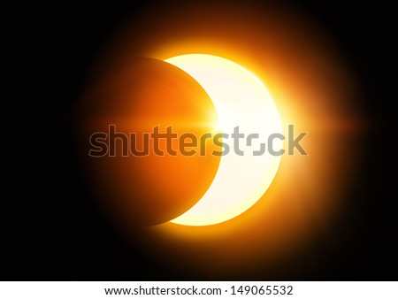 The Moon covering the Sun in a partial eclipse. - stock photo