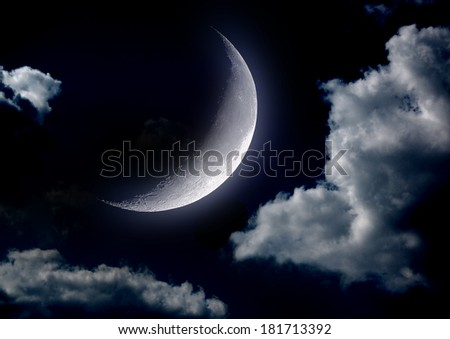 "The moon in the night sky  ""Elements of this image furnished by NASA"" - stock photo"