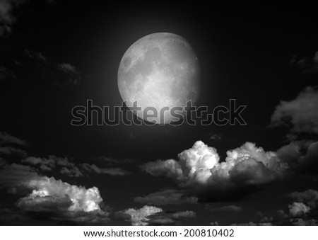 "The moon in the night sky in clouds ""Elements of this image furnished by NASA"" - stock photo"
