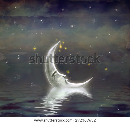 The moon is reflected in  wavy water - stock photo