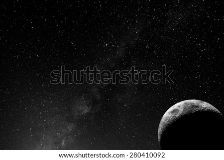 The moon on milky way
