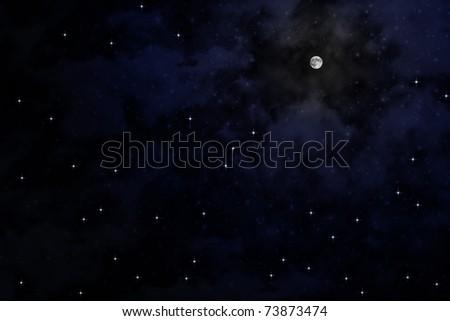The moon on sky at night - stock photo