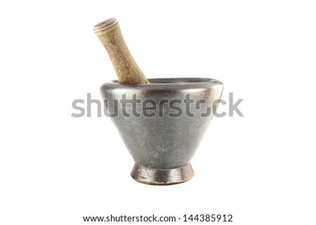 The Mortar and pestle on white background.