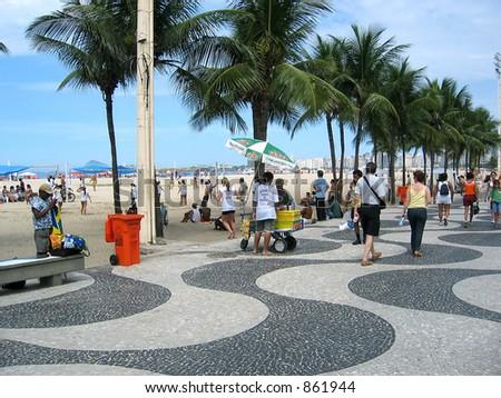 The mosaic promenade and Copacabana Beach. - stock photo