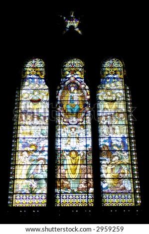 The mosaic window in basilique Notre Dame de Fourviere, Lyon, France. - stock photo