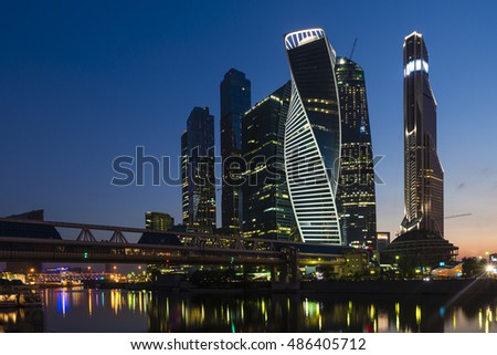 The Moscow international business center. Moscow City. Skyscrapers. Evening.	Moscow city skyscrapers in evening. Moscow is the capital of Russia.