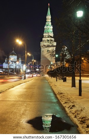The Moscow Kremlin in a night