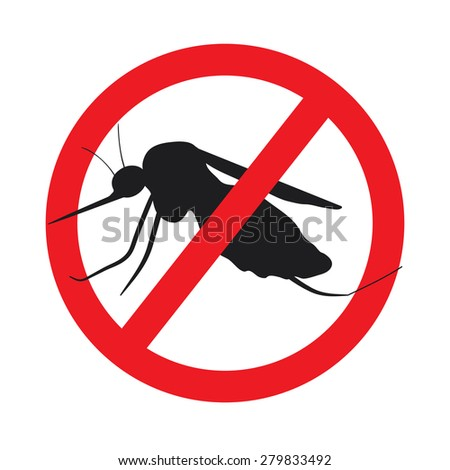 the mosquitoes stop sign - raster image of a mosquito in a red crossed out circle - stock photo