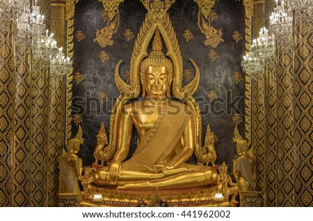 The most beautiful buddha sculpture in Phitsanulok, , Phra Buddha Chinnarat is the most beautiful and the large gold buddha sculpture in Phitsanulok, Thailand.
