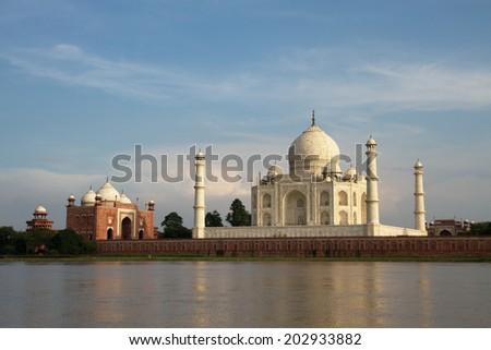 The most beautiful building in the world - the stunning Taj Mahal, Agra, Uttar Pradesh, India - stock photo