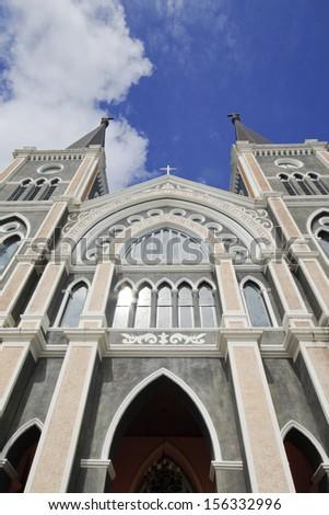 The Most beautiful Catholic Church, Chanthaburi province, Thailand  - stock photo