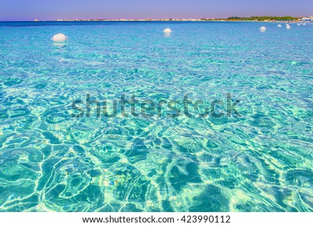The most beautiful sandy beaches of Apulia:Porto Cesareo marine,Salento coast.ITALY (Lecce). - stock photo