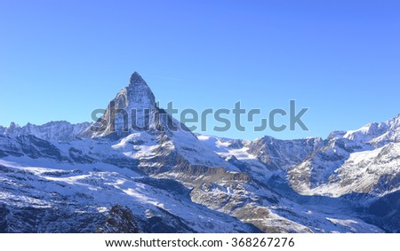 The most beautiful Swiss Alps, Matterhorn in Zermatt with tourist, Switzerland.