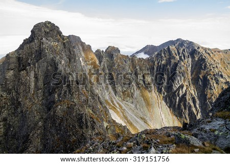 The most difficult trail in the Polish Tatra Mountains, view around to another summits - stock photo
