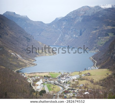 the most famous fjord of Norway - stock photo