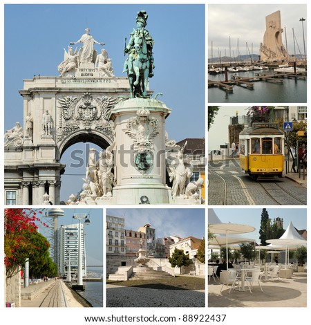 The most famous places in Lisbon: - stock photo