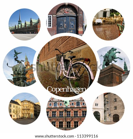 The most famous sights of Copenhagen. Denmark - stock photo