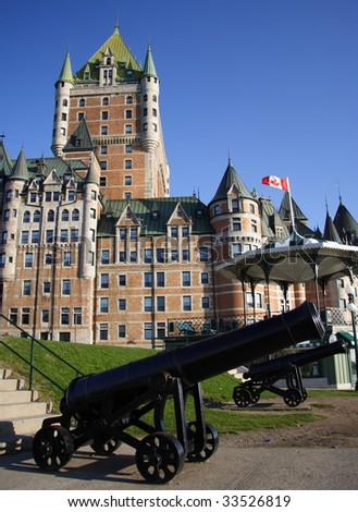 The most famous tourist attraction in Quebec City: Chateau Frontenac - stock photo