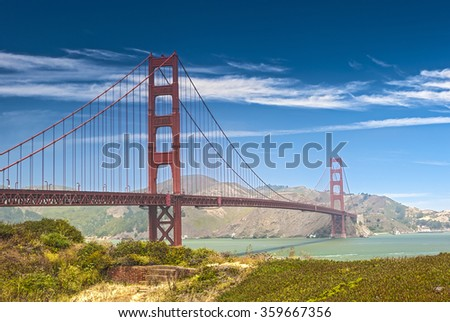 The Most Photographed Golden Gate Bridge in San-Francisco City, California. Horizontal Shot