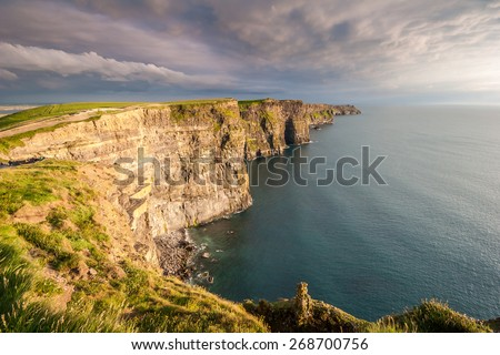The most popular attraction in Ireland, The Majestic Cliffs of Moher.  - stock photo