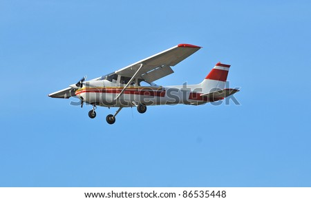 the most popular light aircraft ever built with overhead wing and single propellar - stock photo