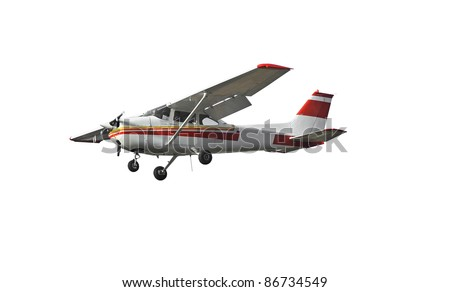the most popular light aircraft ever built with overhead wing and single propeller. Isolated on a white background - stock photo