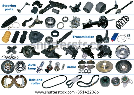 The most popular spare parts, auto parts of the chassis, transmission, brake and clutch. Isolated on a white background. Many new auto parts for aftermarket, OEM spare parts. Car part for auto service - stock photo