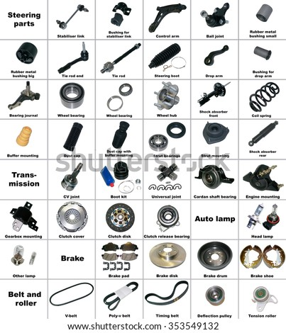 The most popular spare parts of the transmission and chassis, brake and  belt car isolated on a white background. Part, car, spare, auto, industrial, service, part, car, spare, auto, industrial - stock photo
