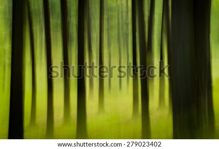 The motion of the camera during a long exposure shows the movement of the trees in a springtime forest.