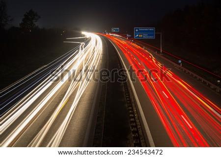 the motorway A93 next to Schwandorf in Bavaria at night - stock photo