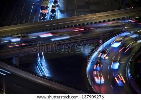The motorway traffic light trace - stock photo