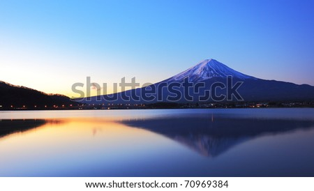 The mountain Fuji and lake reflections at dawn - stock photo