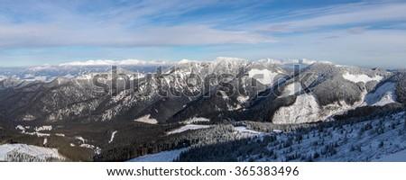 The mountain range of High Tatras, Slovakia, wide panoramic view - stock photo