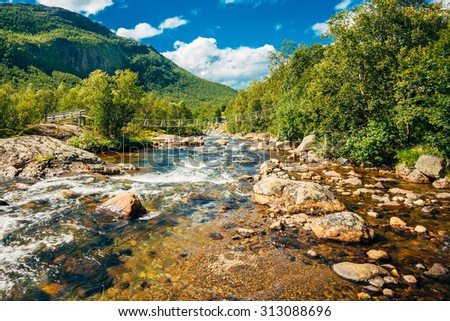 The mountain river in Norway. Flow transparent clean water goes around the rocks on the background of forested mountains. Summer sunny day. - stock photo