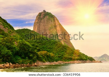 The mountain Sugar Loaf and Guanabara bay in Rio de Janeiro. Brazil - stock photo
