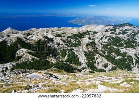 the mountain way in nature park Bikovo - Croatia - stock photo