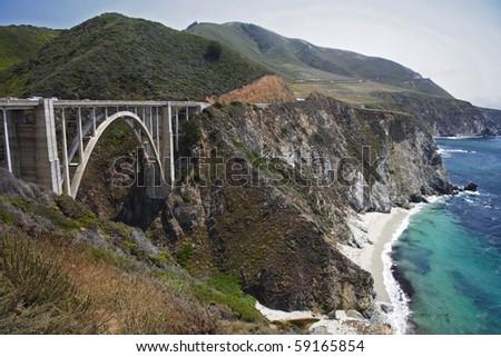 The mountainous Pacific Coast in Central California - stock photo