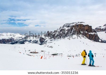 The mountains and skiing in the region Val di Fassa, Italy.