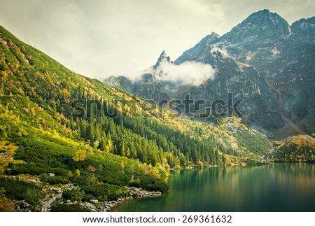 the mountains and the lake, autumn landscape - stock photo