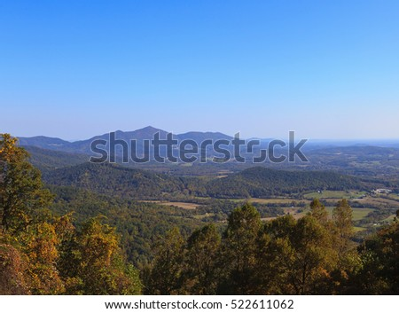 The mountains in Virginia from the Blue Ridge Parkway in the fall